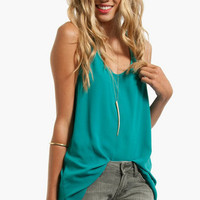Racerback Pleated Chiffon Tank Top $21