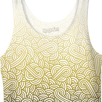 Gradient yellow and white swirls doodles Crop Top