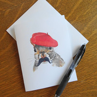 Squirrel Card, Greeting Card, Blank Card, Squirrel Watercolour, French Squirrel, Papergoods