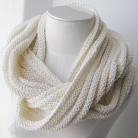 Knit infinity scarf ivory organic cotton