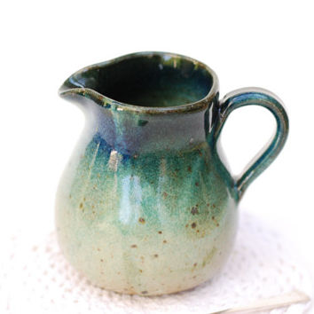 In Stock small greem creamer - 4 inches tall - Ceramic Creamer 12 oz, Pottery Small Pitcher, Creamer blue, green and brown Creamer