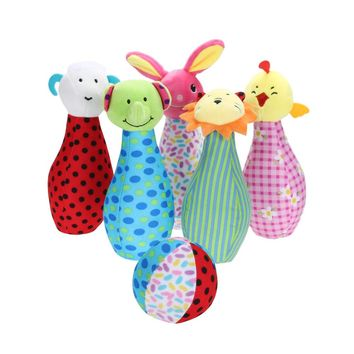 Baby Rattles Mobiles Bowling Ball Shape Baby Rattle Doll For Newborns Toddler Toys Baby Plush Rattle Toy