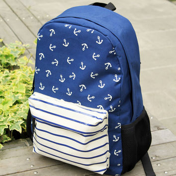 Fresh Navy Striped Anchor Print Backpack School Bag