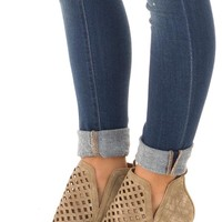 Taupe Grey Bootie with Cut Out Details