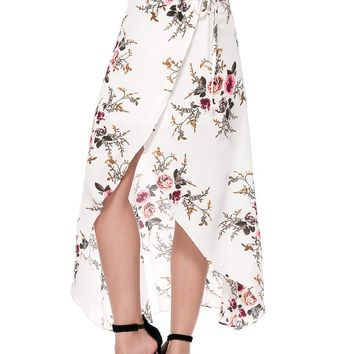 Casual Floral Printed Flared High-Low Maxi Skirt