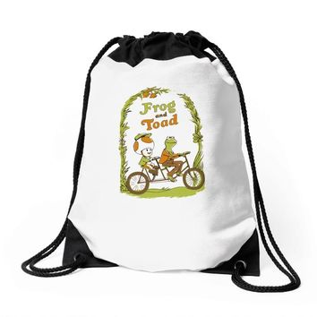 frog & toad Drawstring Bags