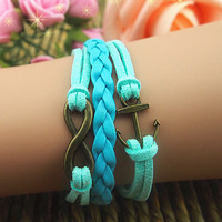 Tan Romantic Password  Hand Woven Leather Cord Multi-layer Leather Anchor Bracelets
