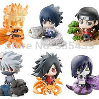 hot NEW 6PCS set Q version 5cm naruto Uchiha Sasuke Uchiha Madara Orochimaru action figure toys Christmas toy