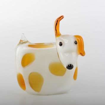 Glass Decoration of White Dog with Yellow Spots Home Decor Murano Art Styled Blown Glass Figurine Colorful Statue