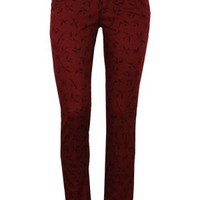 Jist Tattoo Swallow Printed Rockabilly Burgundy Stretch Skinny Fit Jeans - Buy Online at Grindstore.com
