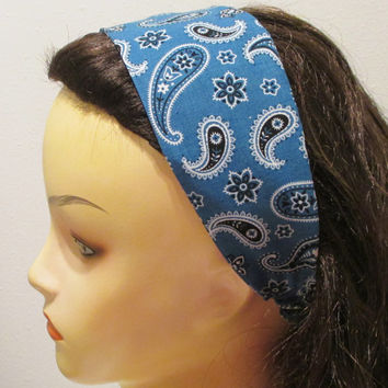 Blue Bandana Wide Fabric Headband Wrap Around Headband Bandana Headband