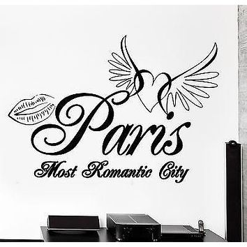 Wall Decal Paris France Eiffel Tower Heart Wings Romantic Vinyl Decal Unique Gift (z3130)