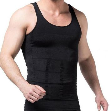 Men's Body Shaper Slimming Shirt Tummy Waist Vest Lose Weight Shirt, Men's Elastic Sculpting Vest Thermal Compression Base Layer