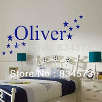Hot Star PERSONALISED Name BOYS and GIRLS NAME Bedroom Home Decoration Wall Art Vinyl Decal Sticker wall sticker Decor 58x30cm