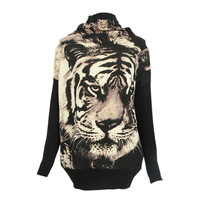 Oversized Tiger Pattern Roll Neck Jumper