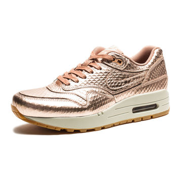 NIKE WOMENS AIR MAX 1 CUT OUT PRM - METALLIC RED BRONZE/LIGHT BONE/GUM MEDIUM BROWN | Undefeated