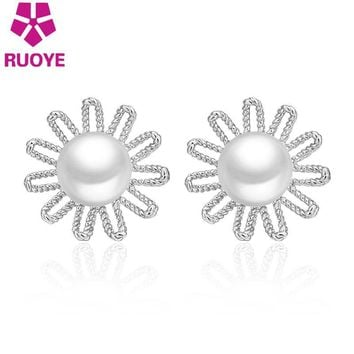 Trendy Simple 8mm Pearl Stud Earring Hollow Sunflower Design Earring For Women Silver Plated Jewelry Best Friend Gift