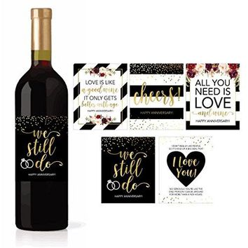 5 Wedding Anniversary Wine Label Stickers For 20th 25th 30th 40th 50th Gift Ideas Best Funny Cute Romantic Marriage Couple Presents For Him or Her Men or Women Accessories Supplies and Decorations