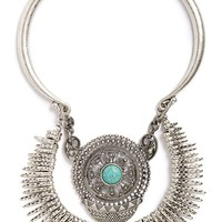 Women's Sole Society Turquoise Stone Statement Necklace - Silver/ Turquoise