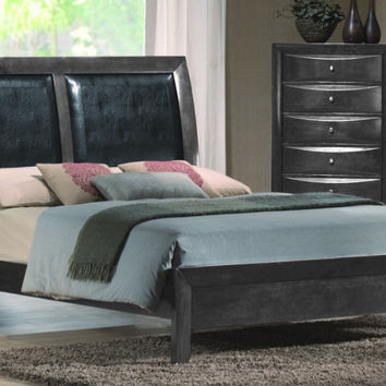 Crown Mark B4270 5 pc Emily collection grey wood finish design headboard queen bedroom set