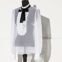 Chiffon tuxedo blouse with bow and ruching | dolce&gabbana online store