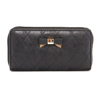 Quilted Bow Wallet In Black