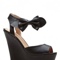 Black Bow Reptile Textured Wedges @ Cicihot Wedges Shoes Store:Wedge Shoes,Wedge Boots,Wedge Heels,Wedge Sandals,Dress Shoes,Summer Shoes,Spring Shoes,Prom Shoes,Women's Wedge Shoes,Wedge Platforms Shoes,floral wedges
