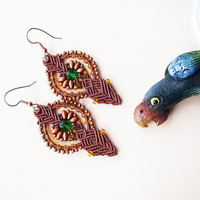 Micro macrame earrings -  Mahogany Brown Copper Green Elegant Bohemian SuperDuo