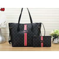LV Louis Vuitton New Fashionable Women Leather Tote Handbag Shoulder Bag Set Two Piece