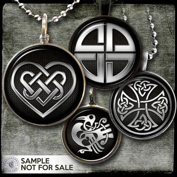 """Celtic Symbols - Digital Collage Sheets CG-799 - 1.5"""", 1.25"""", 30mm, 1"""", 25mm circles - Jewelry Supplies, Bottle Caps, Crafts, Scrapbooking"""