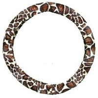 Giraffe Print Soft Faux Fur Novelty Stretchy Car Truck Steering Wheel Cover