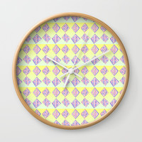 square abstraction-mutlicolor,abstraction,abstract,fun,rectangle,square,rectangled,geometric,geometr Wall Clock by oldking