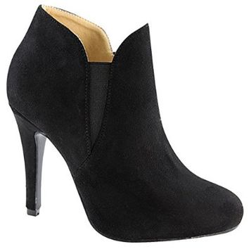 Bella Marie Kendall-10 Women's Soft Round Toe Elastic Cut Out Stiletto Booties