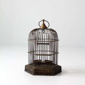 antique brass birdcage / Indian bird cage