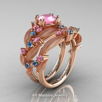Nature Classic 14K Rose Gold 1.0 Ct Pink Quartz Light Pink Sapphire Blue Topaz Leaf and Vine Engagement Ring Wedding Band Set R340SS-14KRGBTLPSPQ