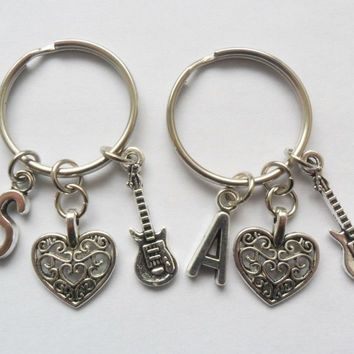 One initial guitar and love heart keyring, best friends keychain, bff, sisters | eBay