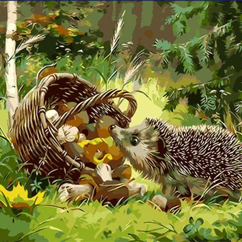 Frameless The Hedgehog Animal DIY Painting By Numbers Kits Coloring Oil Painting On Canvas Drawing Home Artwork Wall Art Picture