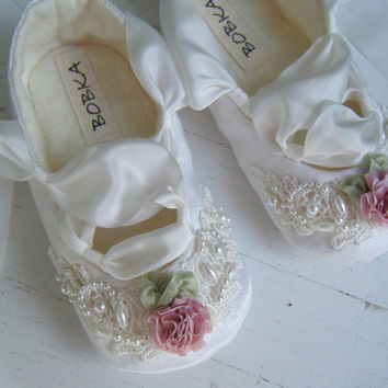 Organic Ballet Shoes,Baby Girl Shoes,Flower Girl Shoes, Hemp Satin, Ivory Lace, Bobka Shoes,Georgianna Darcy Ballet Shoe by BobkaBaby