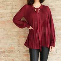 Margaux Pleated Tie Neck Blouse
