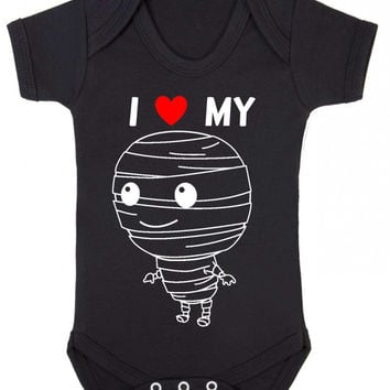 I Heart (Love) My Mummy Spooky Cute Baby Halloween Baby Onesuit Vest