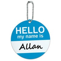 Allan Hello My Name Is Round ID Card Luggage Tag