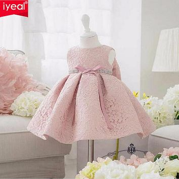 IYEAL Infant Baby Girl Birthday Party Dresses Baptism Christening Easter Gown Toddler Princess Lace Flower Dress for 0-2 Years