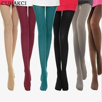 CUHAKCI Tight 8 Colors New 2017 Woman Velvet Candy Color 120D Pantyhose Plus Size Multicolour Stovepipe Tights Women