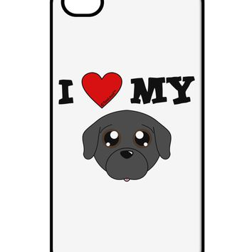 I Heart My - Cute Pug Dog - Black iPhone 4 / 4S Case  by TooLoud