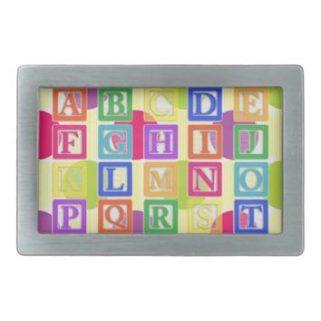 Block Letters Rectangular Belt Buckle