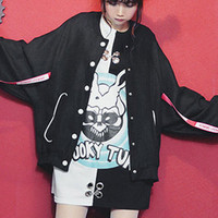 Black strappy baseball style baggy batwing jacket