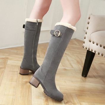 Thick Heel Knee High Boots