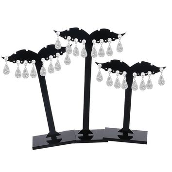 3Pcs Earring Ear Stud Jewelry Display Holder Tree Storage Hanger Plastic Stand Show Rack