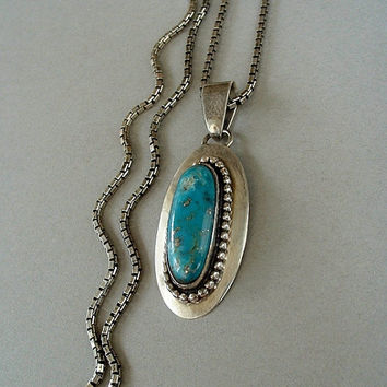 ELLA PETER Vintage Native American Navajo TURQUOISE Pendant Necklace Sterling Chain Hallmarked