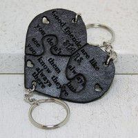 Friendship Puzzle Key chains Set of 3 Good friends are like STARS  Black Leather